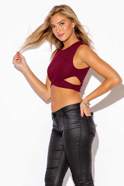 Cute cheap burgundy red ribbed cut out fitted party crop top