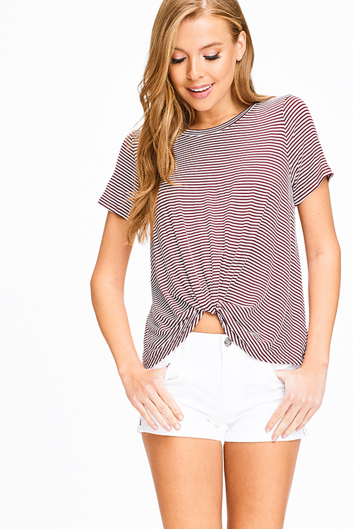fc21797e1f Cute cheap Burgundy red striped short sleeve twist knotted front boho tee  shirt top