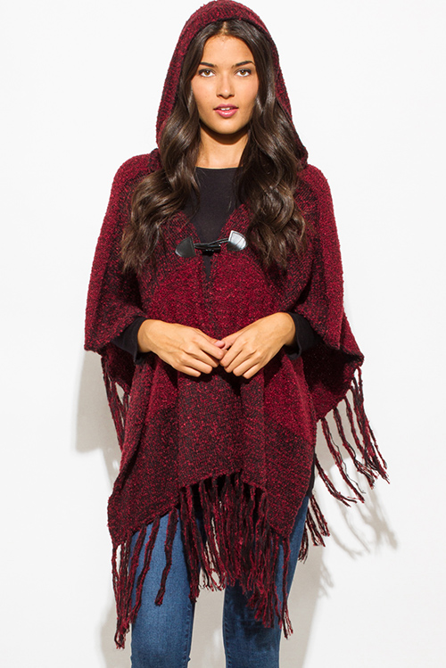 Cute cheap burgundy wine red color block hooded fringe trim faux leatherclasp sweater knit poncho tunic top