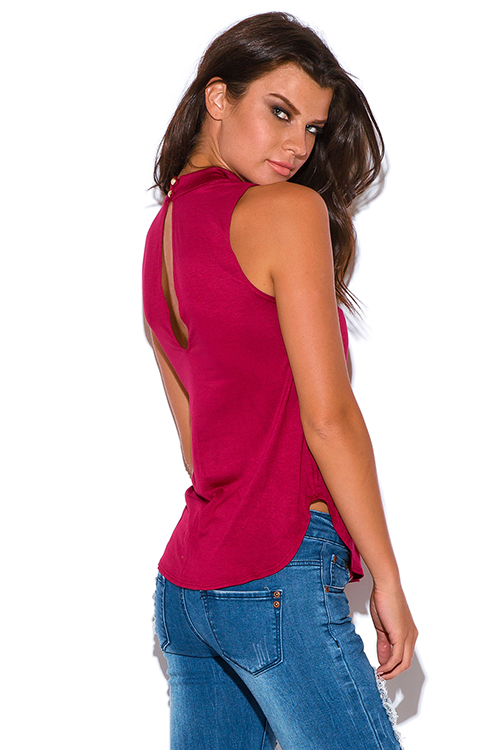 Cute cheap burgundy wine red cut out high neck tank top
