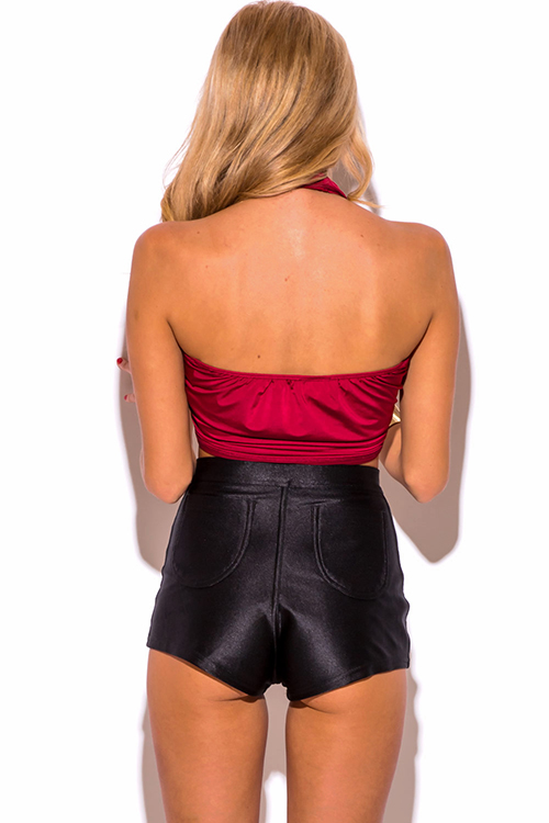 Cute cheap burgundy wine red halter wrap clubbing crop top