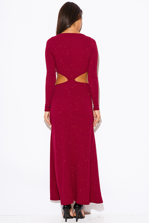 Cute cheap burgundy wine red shimmery metallic long sleeve double slit cut out fitted formal evening party dress