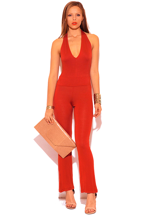 Shop rust orange deep v neck halter backless summer jumpsuit