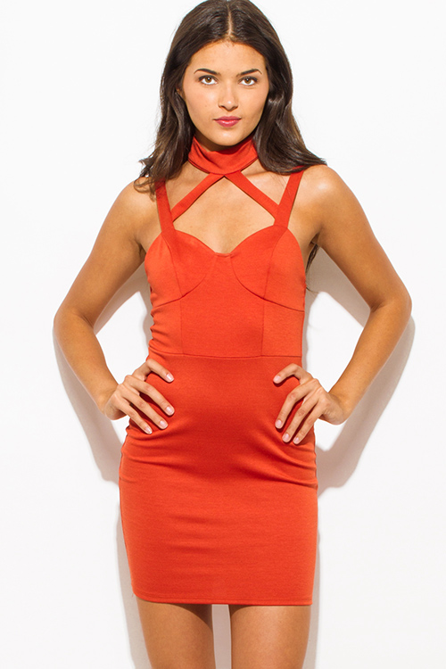 Cute cheap burnt rust orange choker caged cut out bustier sweetheart neck open back bodycon fitted club mini dress