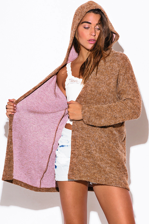 Cute cheap camel beige fuzzy boho sweater cardigan hoodie jacket
