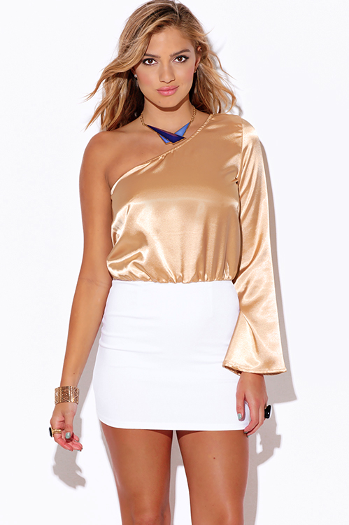 Cute cheap champagne beige satin one shoulder white pencil cocktail party club mini dress