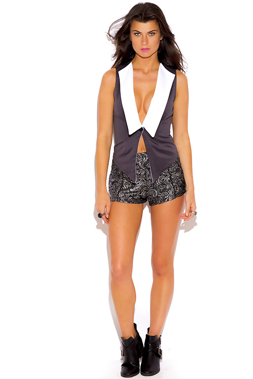 Cute cheap charcoal gray and bright white scuba vest top