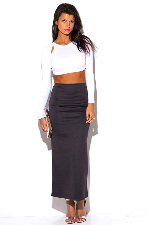 High Waisted Fitted Maxi Skirt