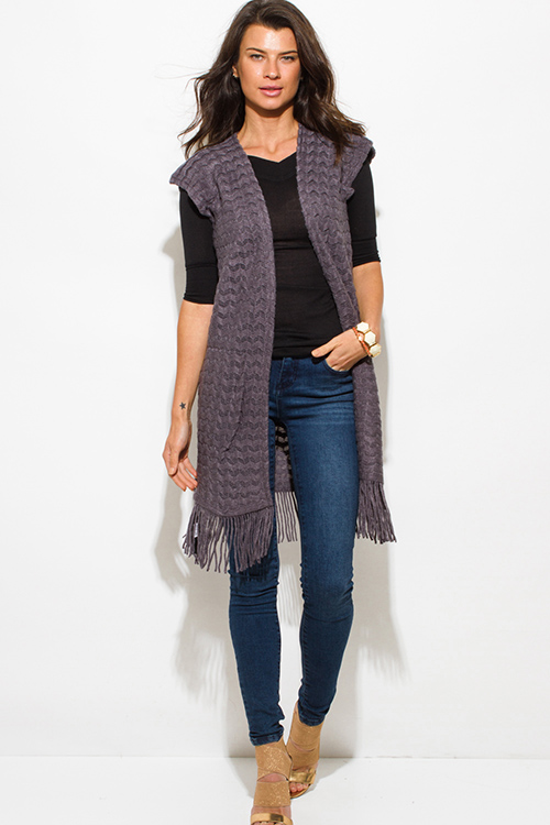 Cute cheap charcoal gray chevron crochet knit fringe trim sleeveless open front duster cardigan top
