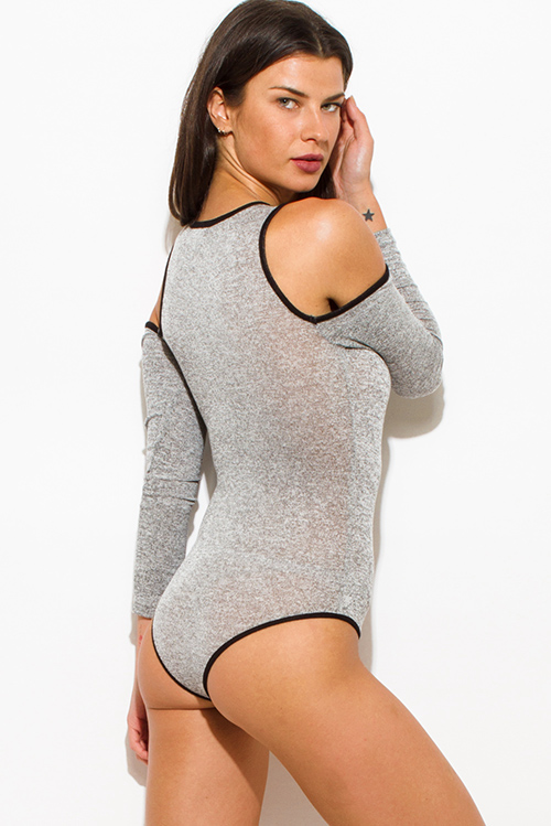 Cute cheap charcoal gray cotton blend black trim cold shoulder long sleeve bodycon fitted bodysuit top