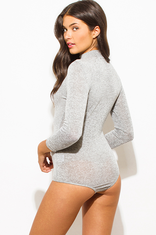 Cute cheap charcoal gray cotton blend choker mock neck cut out quarter sleeve bodycon fitted bodysuit top