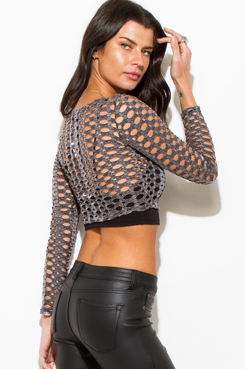 Cute cheap charcoal gray cut out long sleeve clubbing crop top