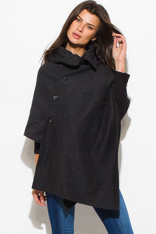 Cute cheap charcoal gray hooded sweater poncho cape jacket top