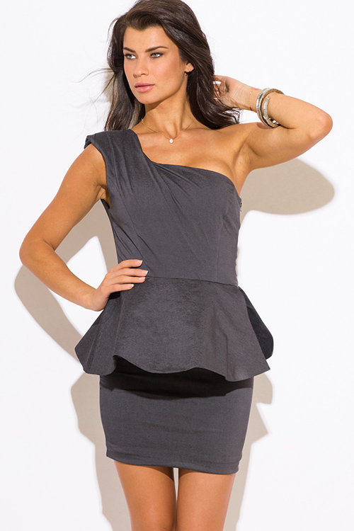Cute cheap charcoal gray one shoulder fitted peplum pencil party mini dress