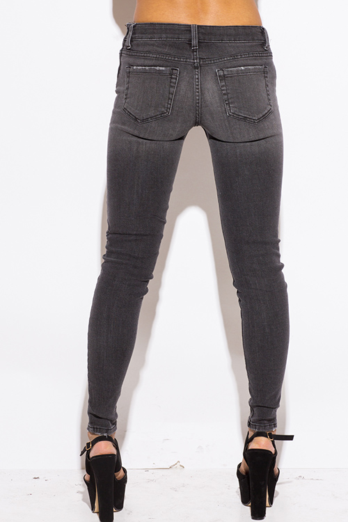 Shop charcoal gray washed denim fitted skinny jeans