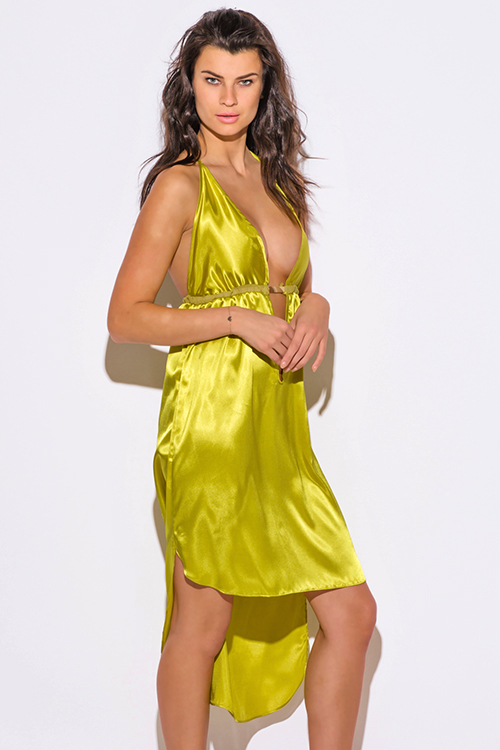 Cute cheap charteuse yellow satin bejeweled backless deep v neck babydoll cocktail party midi sun dress