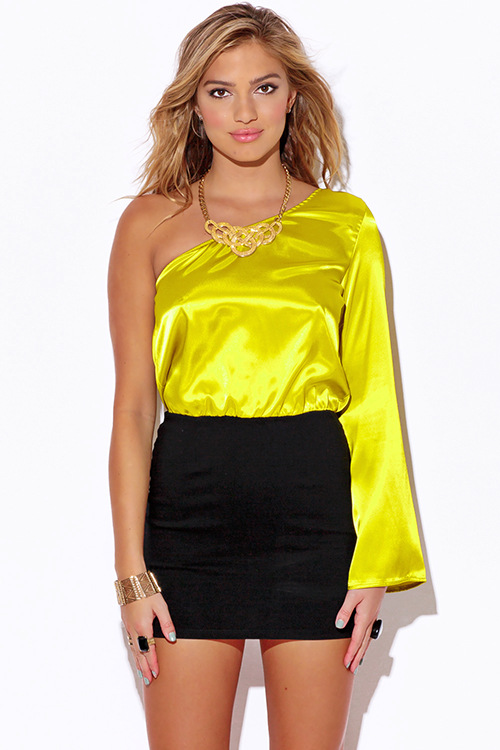 Cute cheap chartreuse yellow satin one shoulder bell sleeve pencil cocktail party club mini dress