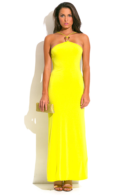 Cute cheap chartruese yellow green bejeweled halter backless evening party maxi sun dress