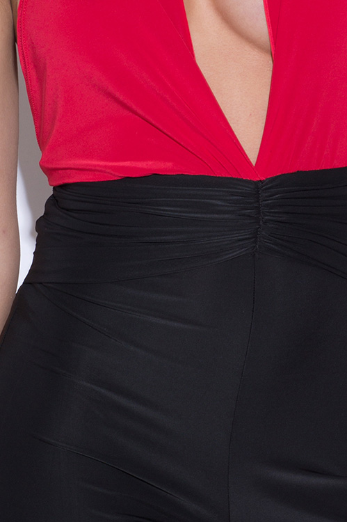Cute cheap cherry red and black color block deep v neck ruched drape wide leg jumpsuit