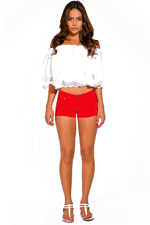 Cute cheap cherry red fitted denim jean shorts