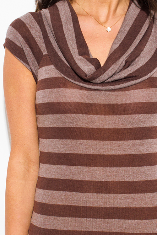 Cute cheap chocolate brown striped cowl neck sweater knit tunic top