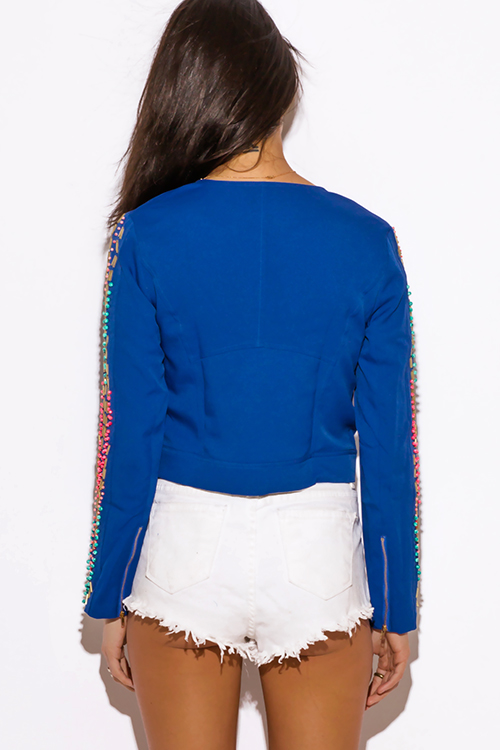 Cute cheap cobalt blue bead bejeweled long sleeve zip up moto jacket top