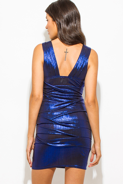 Cute cheap cobalt blue metallic sleeveless low v neck ruched bodycon fitted bandage cocktail party club mini dress