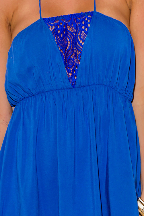 Cute cheap cobalt royal blue lace trim halter high low summer sun dress