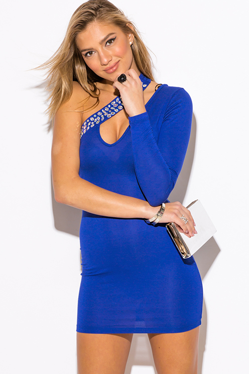 Cute cheap cobalt royal blue one shoulder bejeweled cut out v neck long sleeve bodycon fitted club mini dress