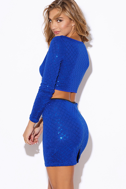 Cute cheap cobalt royal blue sequined long sleeve fitted bodycon clubbing two piece set mini dress