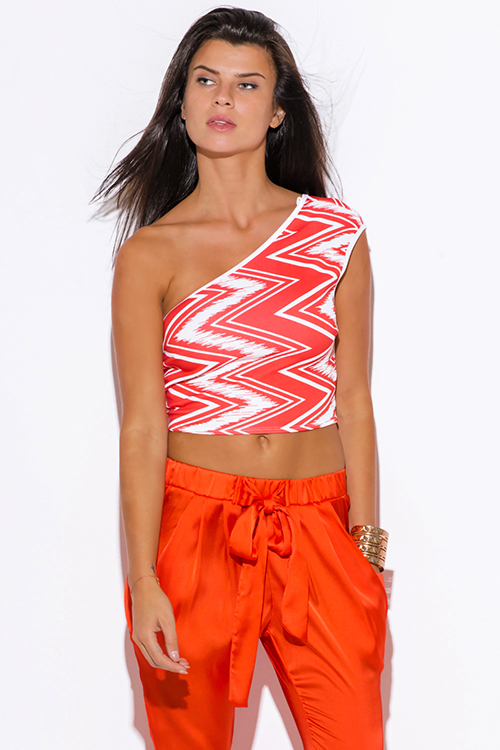 Cute cheap coral chevron print one shoulder fitted party crop top