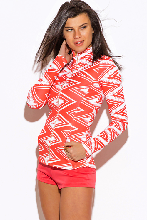 Cute cheap coral chevron print scuba zip up high neck fitted sporty long sleeve jacket top