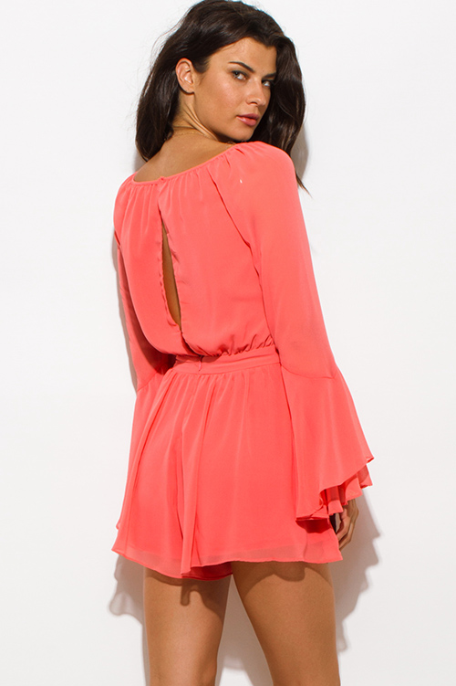 Cute cheap coral chiffon bell sleeve cut out back romper jumpsuit