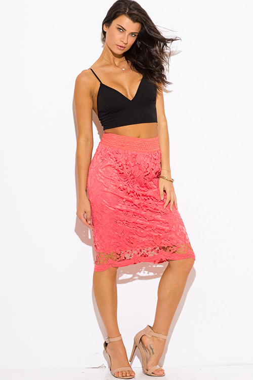 Shop coral crochet lace high waisted fitted boho midi pencil skirt