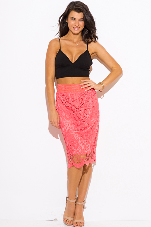 Cute cheap coral crochet lace high waisted fitted boho midi pencil skirt