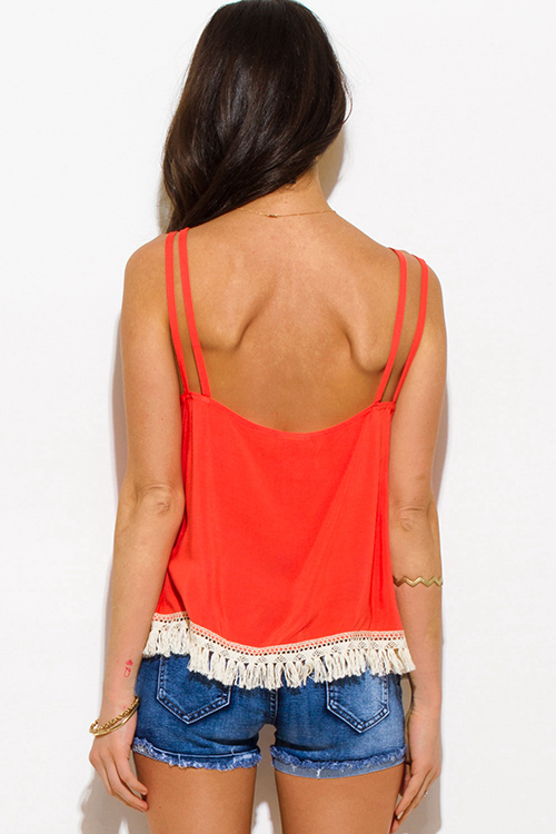 Cute cheap coral cut out caged fringe trim spaghetti strap boho swing tank top