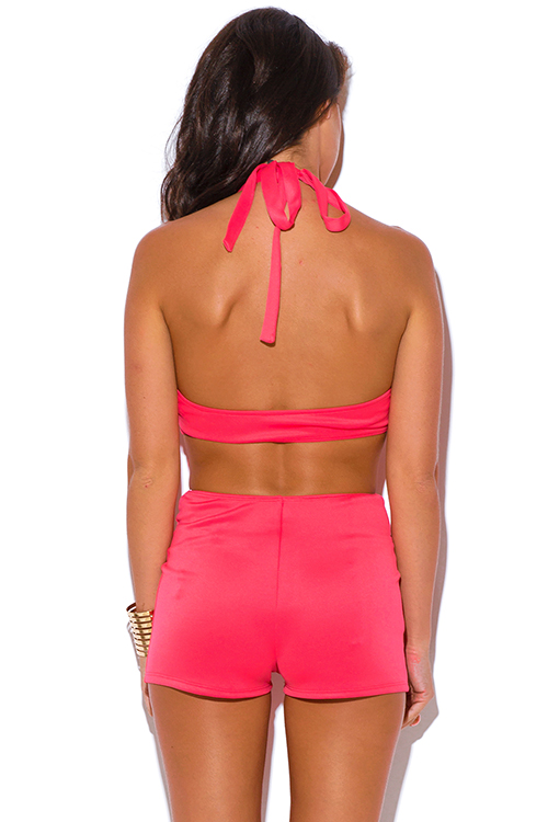 Cute cheap coral cut out backless fitted bodycon clubbing romper jumpsuit