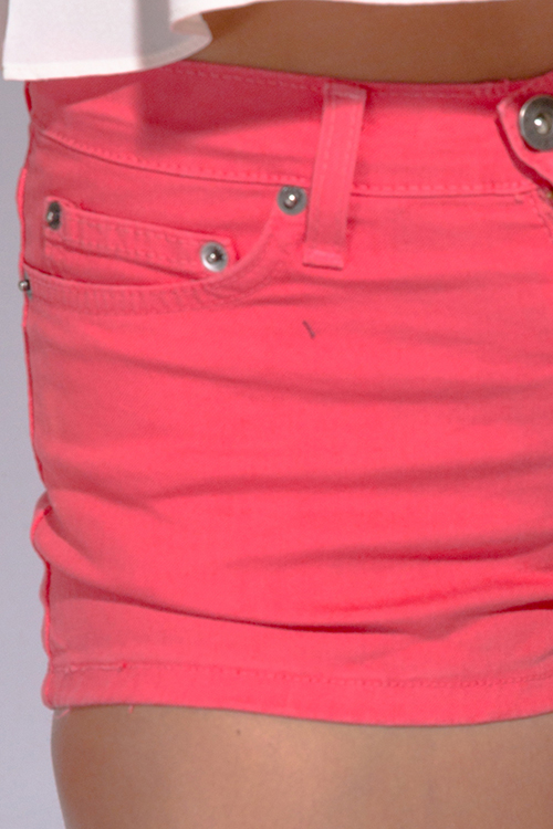 Cute cheap coral pink fitted denim jean shorts