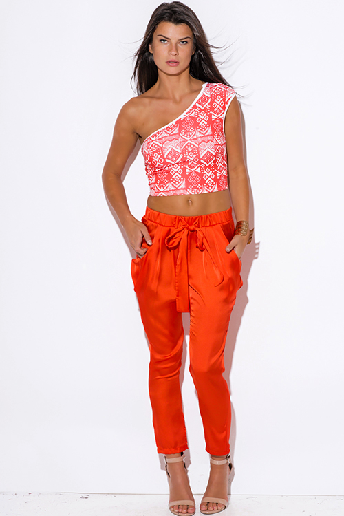 Cute cheap coral ethnic print one shoulder fitted party crop top