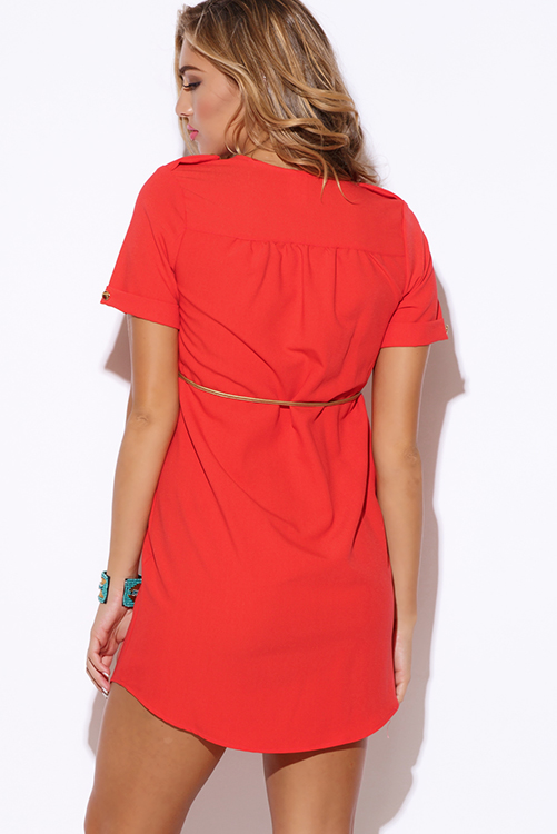 Cute cheap coral  crepe sash belted short sleeve button up party shift mini shirt dress