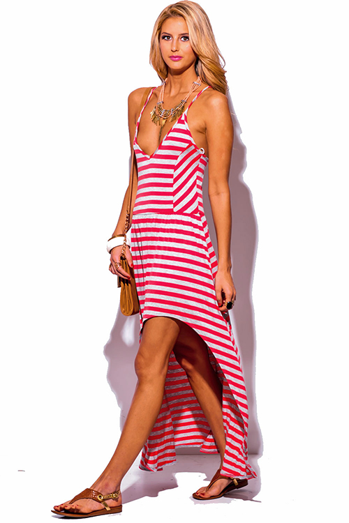 Cute cheap coral gray stripe deep v neck high low slit boho summer maxi sun dress
