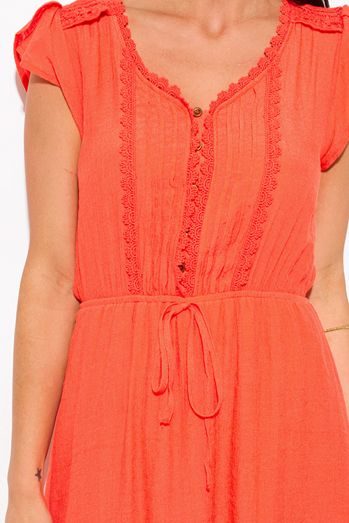 Cute cheap coral orange rayon gauze a line crochet contrast cap sleeve boho mini peasant dress
