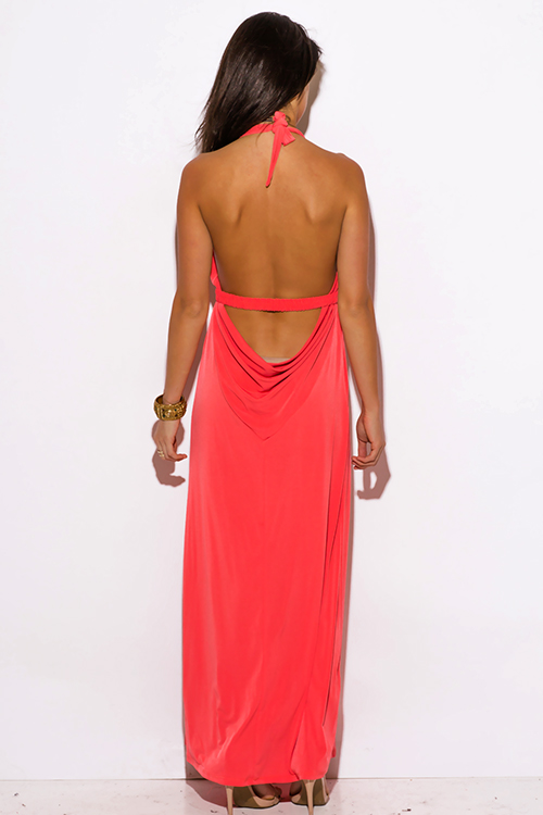 Cute cheap coral pink deep v neck bejeweled draped backless babydoll summer formal evening party maxi dress