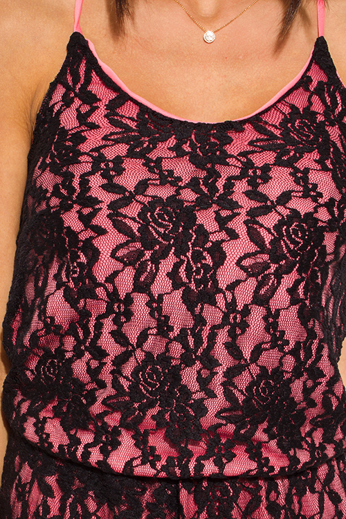 Cute cheap coral pink black lace overlay spaghetti strap criss cross back boho romper playsuit jumpsuit