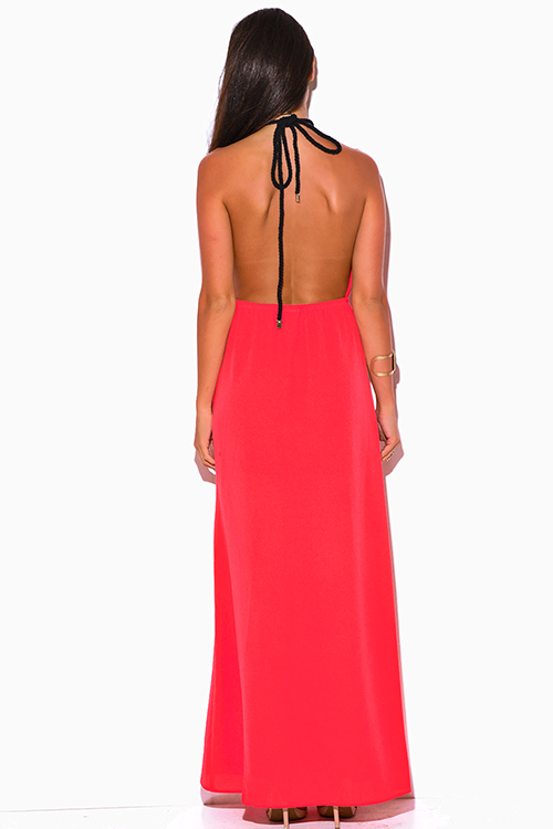Cute cheap coral pink crepe cut out high slit rope halter wrap neck backless formal evening party maxi sun dress