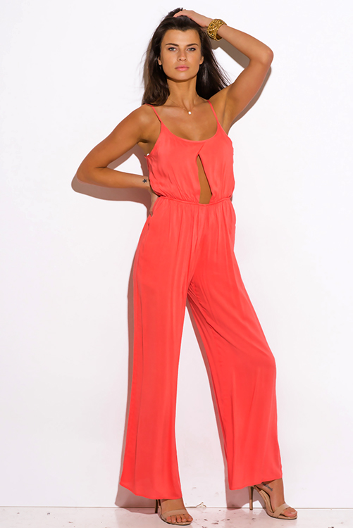 Cute cheap coral pink pocketed cut out center wide leg summer party jumpsuit