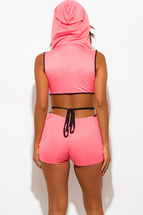 Cute cheap coral pink ribbed knit deep v neck cut out hoodie sport fitted romper jumpsuit