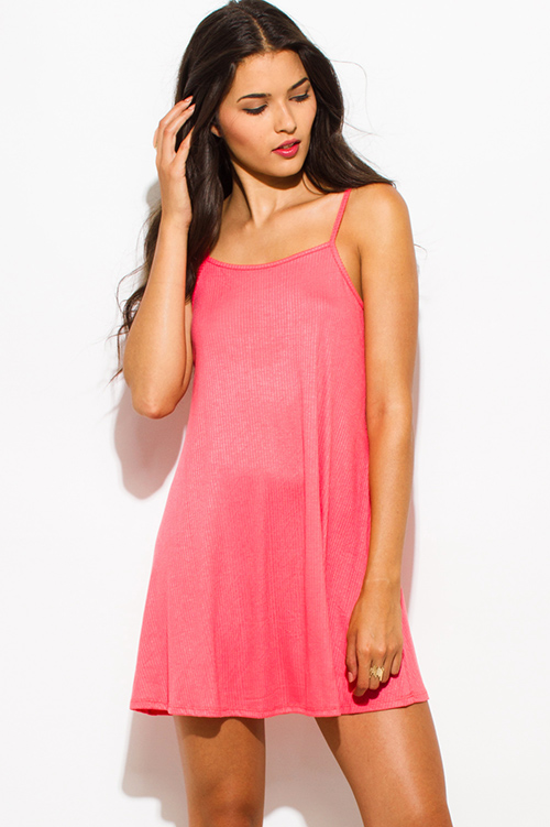 Cute cheap coral pink ribbed spaghetti strap backless party mini sun dress