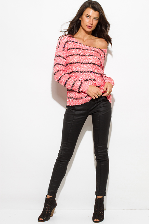 Cute cheap coral pink stripe sequined off shoulder pocketed long sleeve crochet sweater knit top