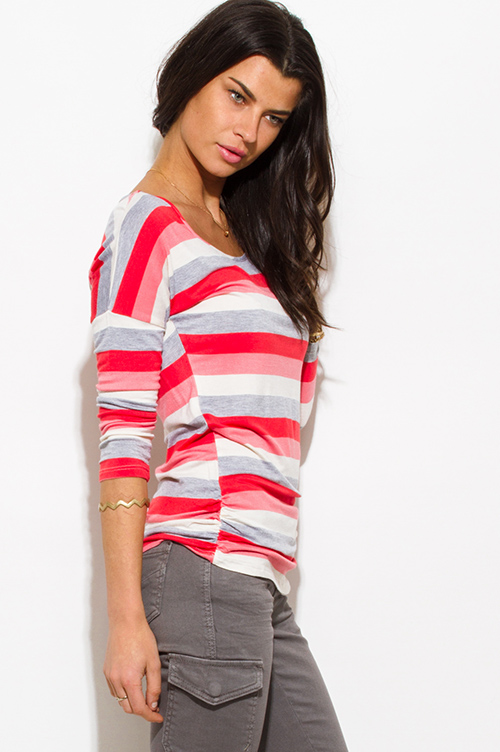 Cute cheap coral red multicolor striped quarter sleeve ruched knit top